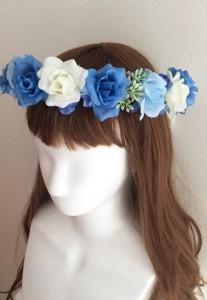 青い花かんむり左