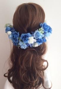 花かんむり髪型ハーフアップ