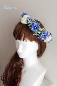 花冠青いセントーレアアレンジサイド