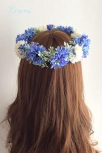 花冠青いセントーレアバック