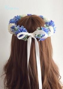 花冠青いセントーレアバックリボン