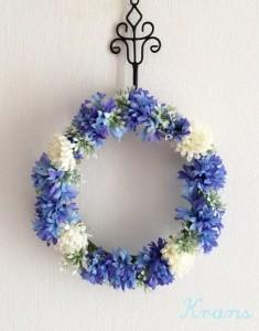 花冠青いセントーレアリース