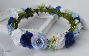 青いグラデーション結婚式用花冠