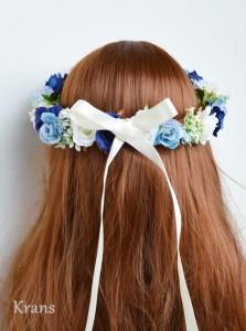 ブルーローズの花冠をかぶった花嫁の後ろ姿7