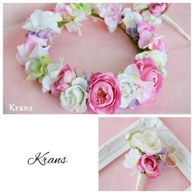 大ぶりピンクローズのウェディング花冠