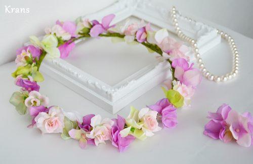 スウィートピンクのウェディング花冠