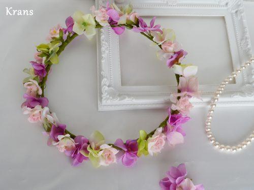 スウィートピンクのウェディング花冠全体