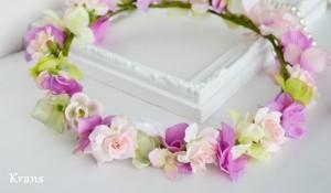 スウィートピンクのウェディング花冠アップ