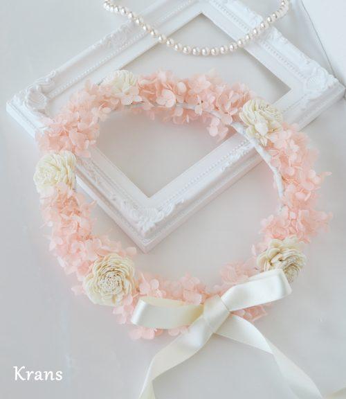【花冠のご紹介】プリザーブドフラワーアナベルの天使の花冠(ピンク)