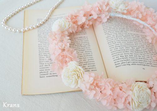 ピンクプリザ結婚式花かんむり