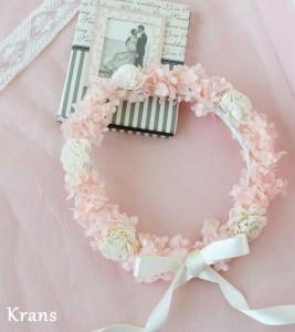 プリザーブドフラワーアナベルの天使の花冠ピンクバック