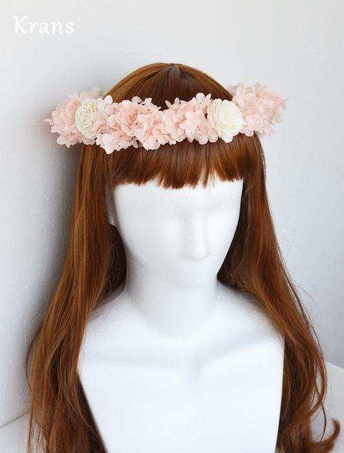 プリザーブドフラワーピンクの結婚式花冠
