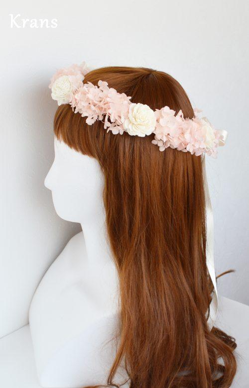 ピンクアナベルのウェディング花冠