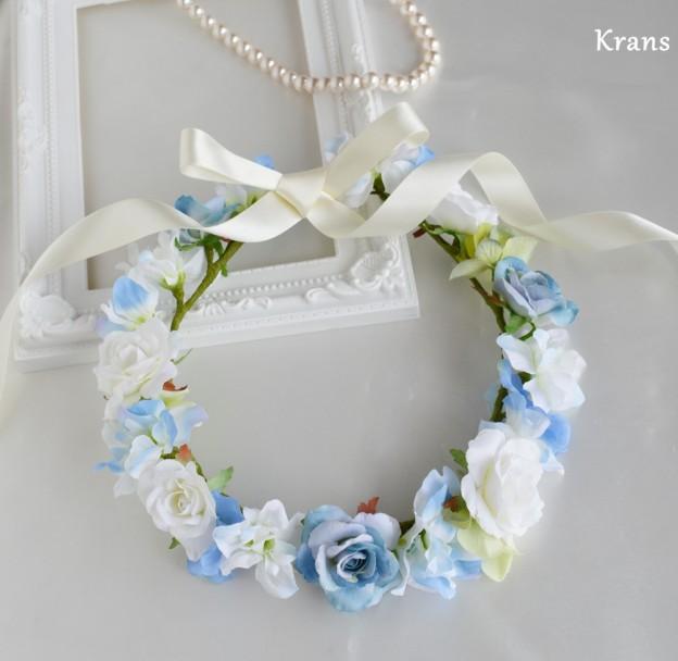 エンジェルブルーのウェディング花冠1、結婚式花冠、ウェディング花冠、