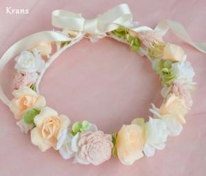 オーダーブライダルピンクの花冠3