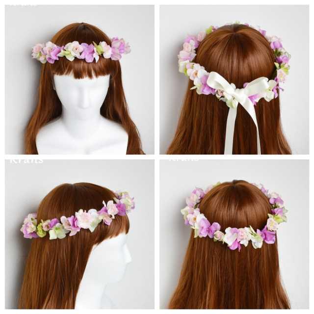 結婚式用花冠ピンクバラ
