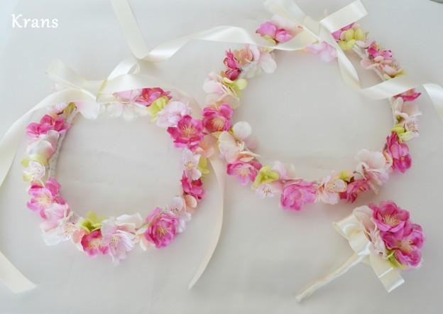 オーダー花冠ピンク1、子供用花冠