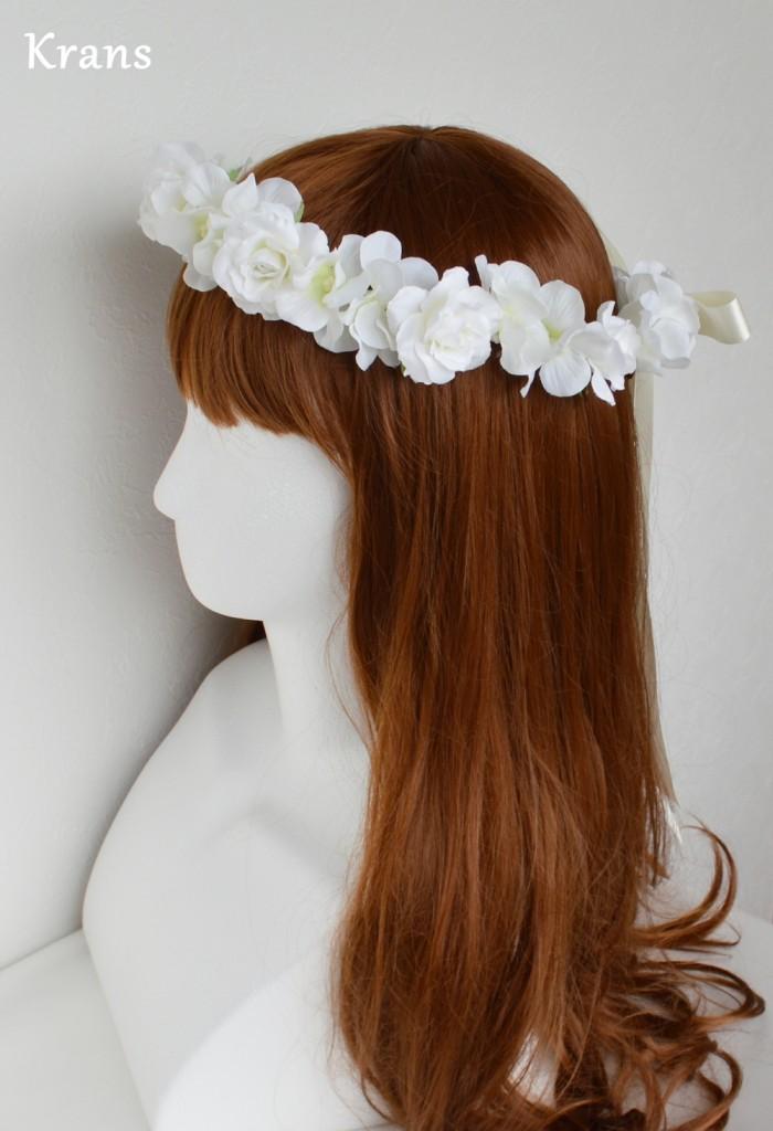 ふんわりかわいい白い花冠左