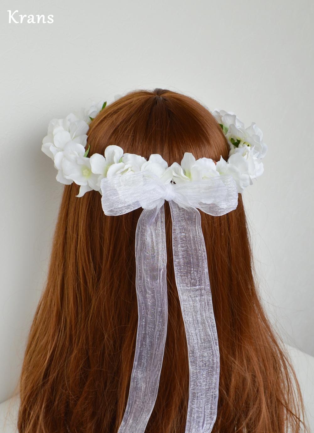 ふんわりかわいい白い花冠リボン