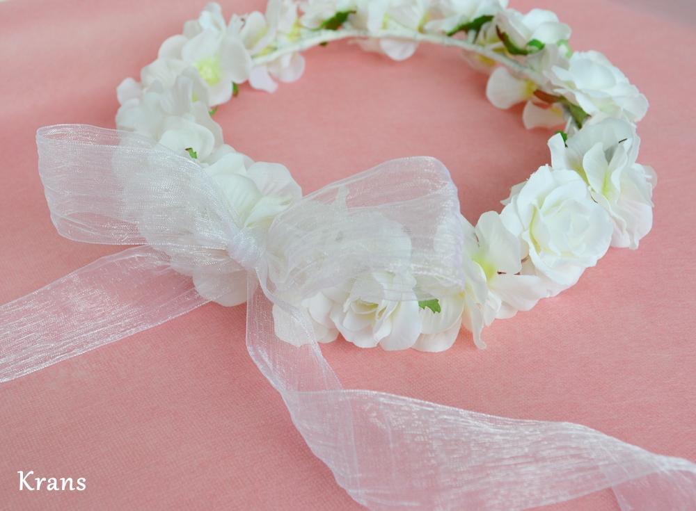 ふんわりかわいい白い花冠シフォン