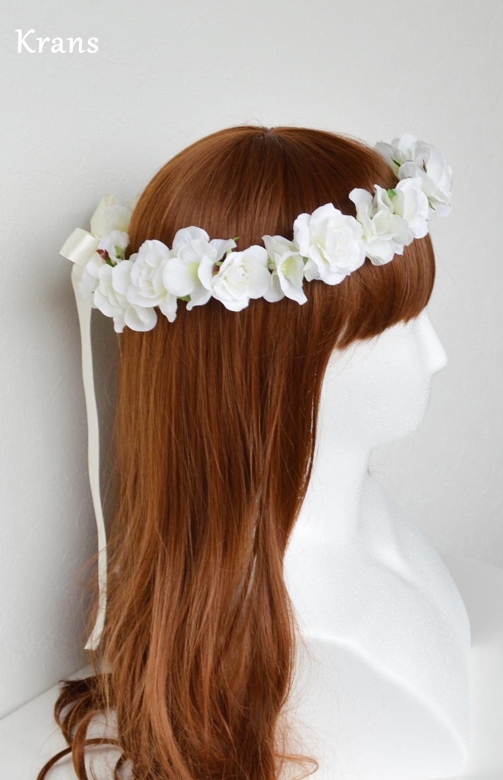 ふんわりかわいい白い花冠右