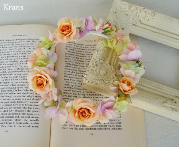 ふわふらパステルのドレスにぴったりの花冠1、結婚式花冠、ウェディング花冠、