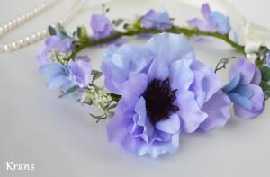 アネモネブルーパープル結婚式花冠10