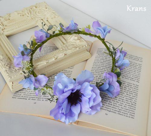 ブルーパープルのアネモネワンポイント花冠