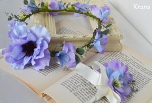 アネモネブルーパープル結婚式花冠11