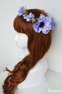 アネモネブルーパープル結婚式花冠