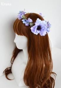 アネモネブルーパープル結婚式花冠5