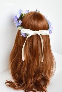 アネモネブルーパープル結婚式花冠8