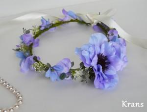 アネモネブルーパープル結婚式花冠9