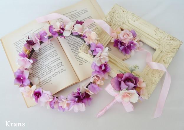 ピンクパープル結婚式花冠