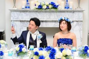 青いバラウェディング花冠