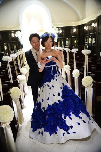 ブルー花冠ウエディング1、結婚式花冠、ウェディング花冠