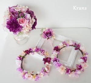 ピンク結婚式花かんむり