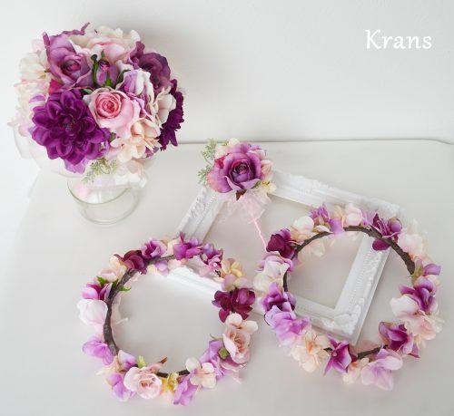 親子おそろいピンク花冠、ウェディングセット5