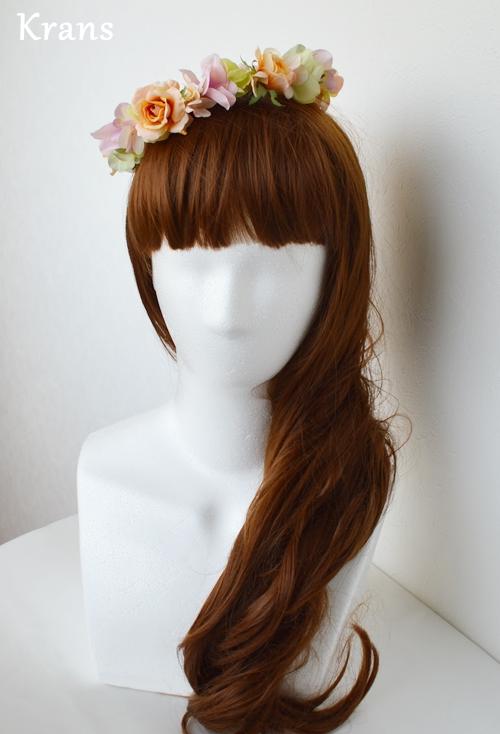 ふわふらパステルのドレスにぴったりの花冠 正面