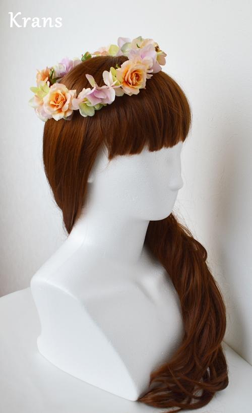 ふわふらパステルのドレスにぴったりの花冠 サイド