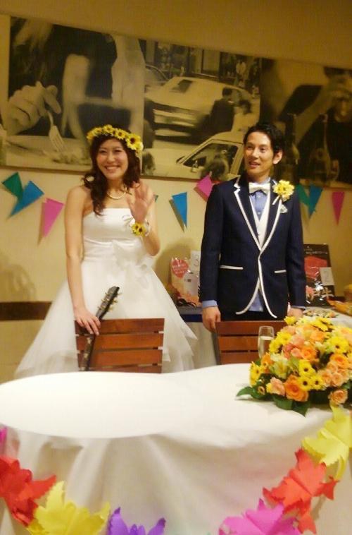 黄色いひまわり花冠結婚式3