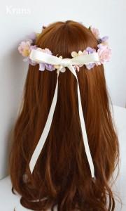 シュガーピンクローズのブライダル花かんむり モデルリボン