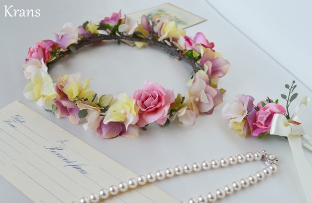 結婚式花冠、ウェディング花冠、アンティークローズのナチュラルクラシック花冠