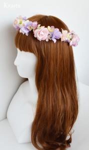 シュガーピンクローズのブライダル花かんむり モデル左