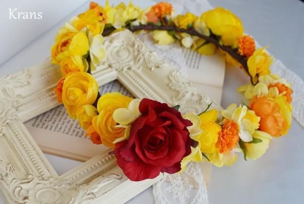 美女と野獣黄色い結婚式花冠