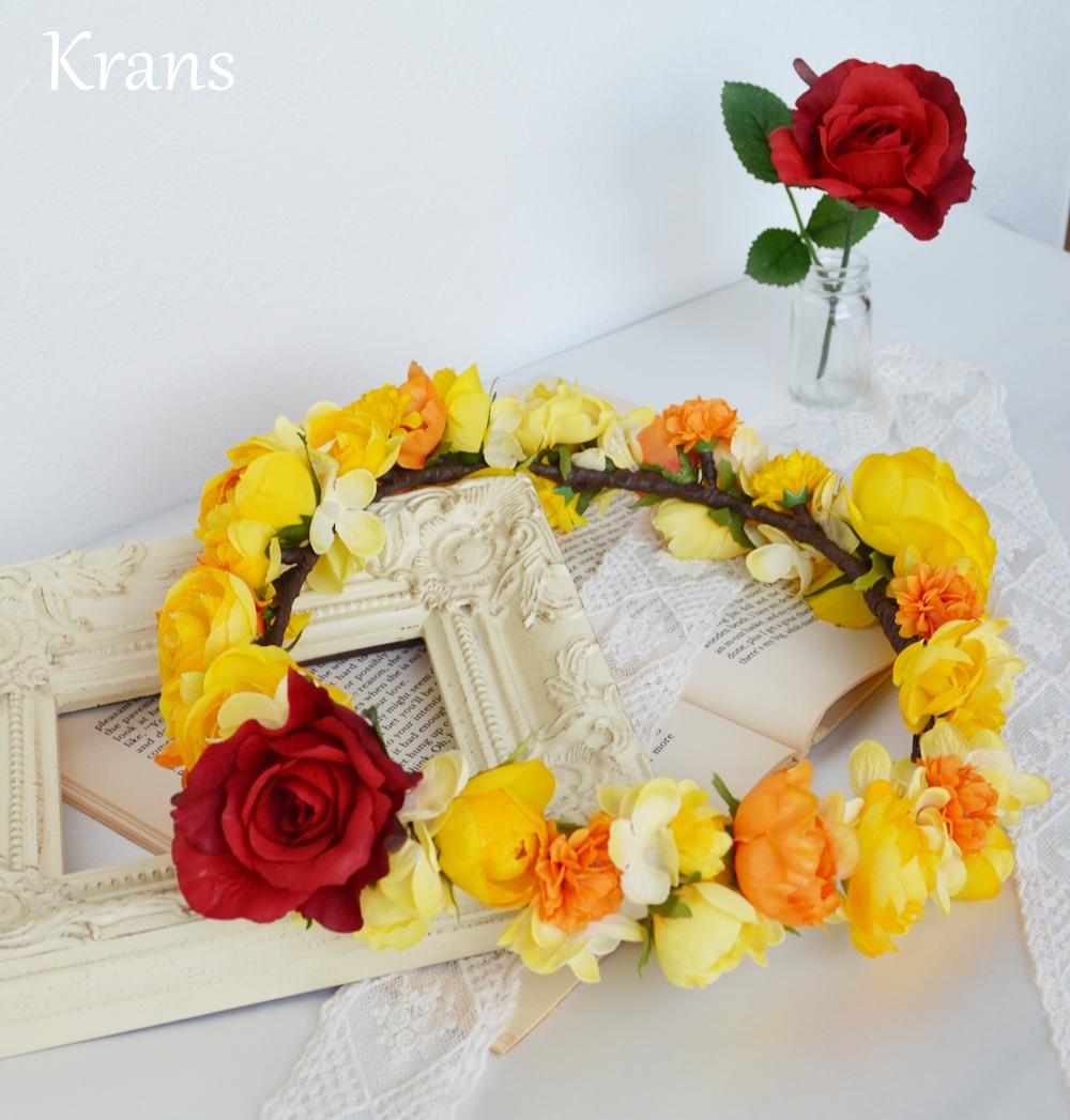 美女と野獣黄色い結婚式花冠3