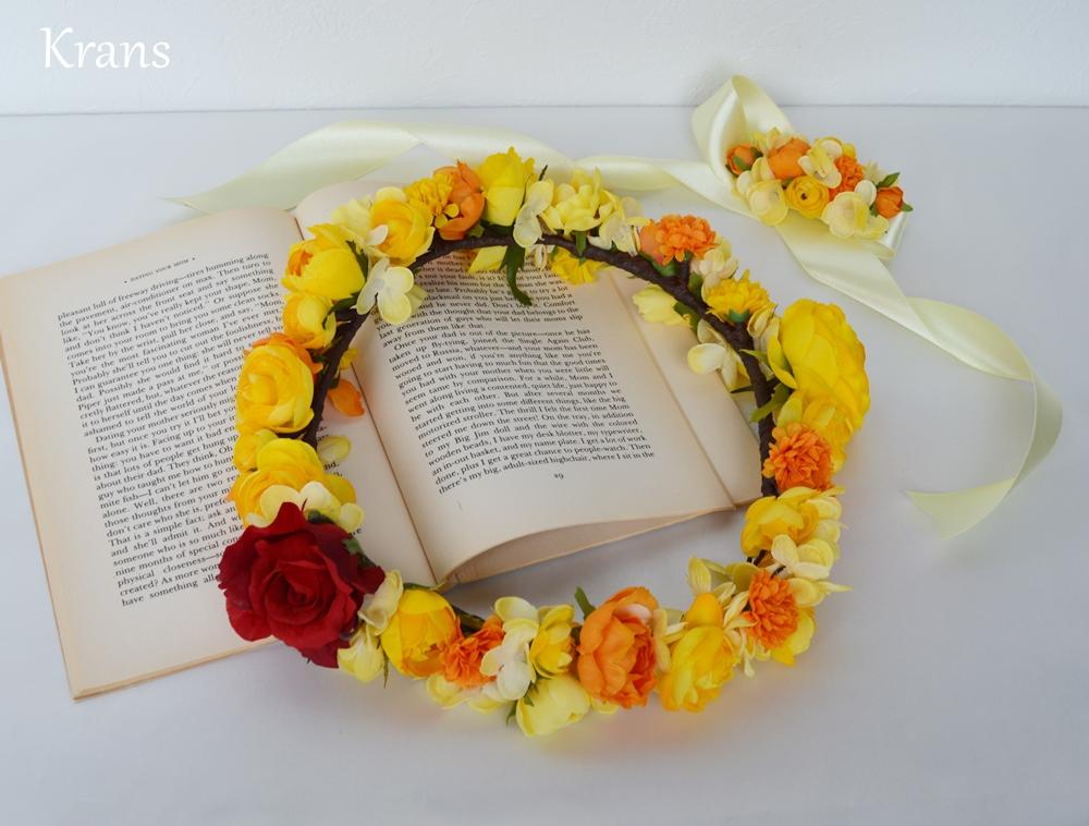 美女と野獣黄色い結婚式花冠8