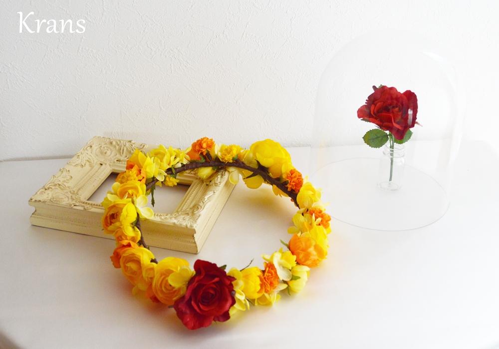 美女と野獣黄色い結婚式花冠2