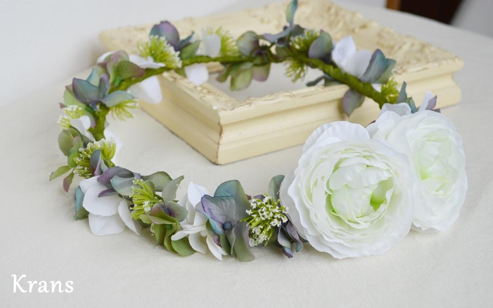 ホワイトとグリーンのワンポイント結婚式花冠3