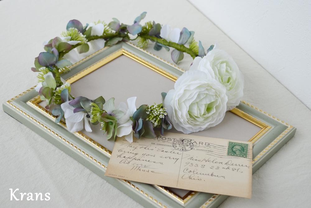 ホワイトとグリーンのワンポイント結婚式花冠2